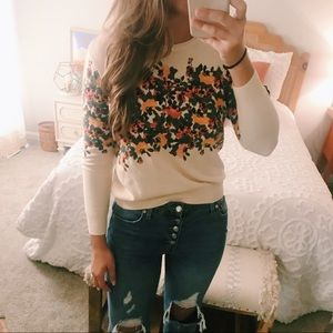 Molly Green Floral Sweater sz S
